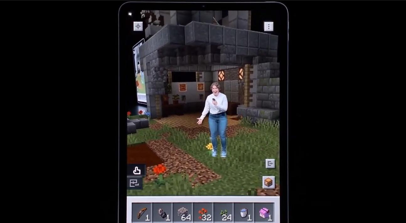 蘋果選用的遊戲《當個創世神:地球》來展示AR 功能。圖:微軟提供