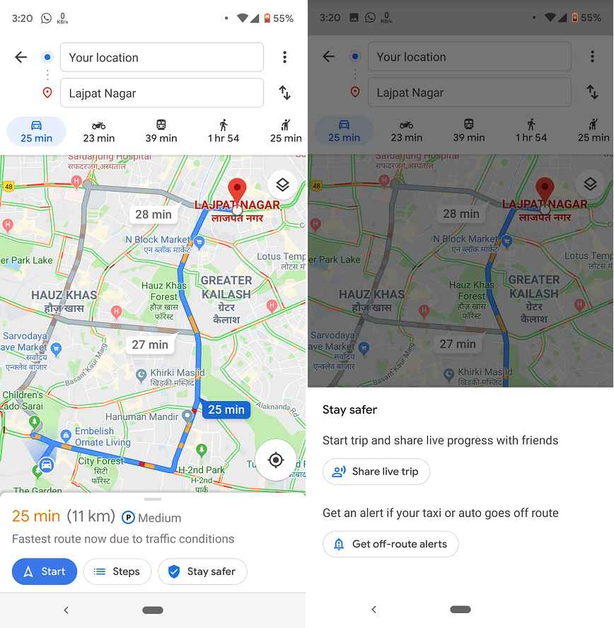 Google Maps即將推出alert taxi offroute新功能。圖:翻攝androidpolice