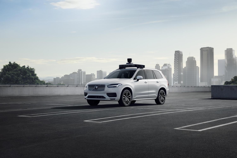 Uber展出與Volvo合作開發的自駕車。圖:Uber提供