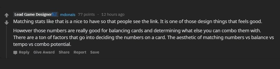 Mike Donais表示設計卡牌的數值有很多要素得考慮。