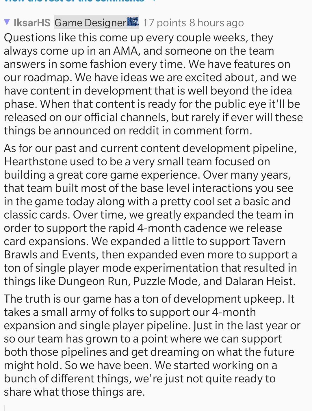 Iksar表示製作團隊新增人手後已經有足夠人力去進行新內容的開發。