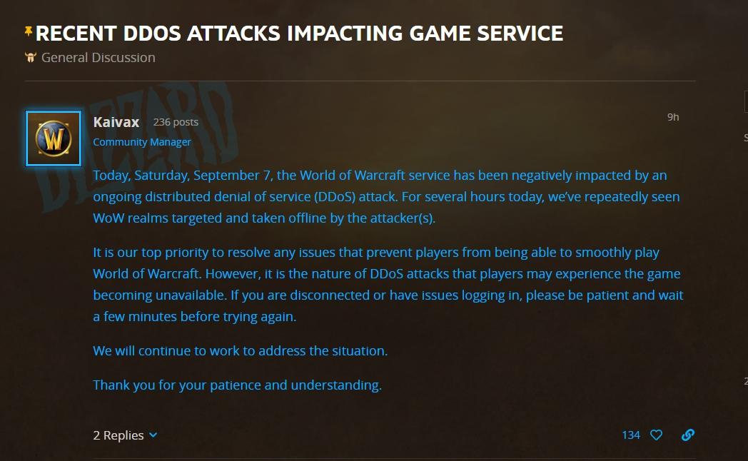 官方承認伺服器遭到DDoS攻擊。