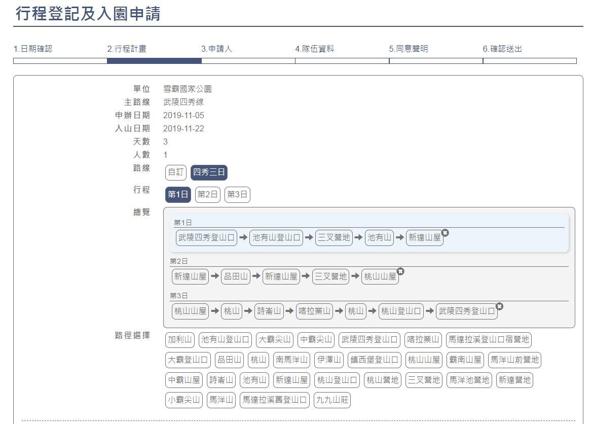 自動帶入行程對新手來說相當有用,可以幫助他們了解每日行進進度。圖:翻攝自台灣登山申請一站式服務網