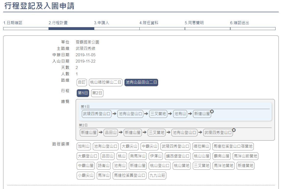 同樣路線,根據輸入的天數不同,自動帶入的行程也會不一樣,這點頗貼心。圖:翻攝自台灣登山申請一站式服務網