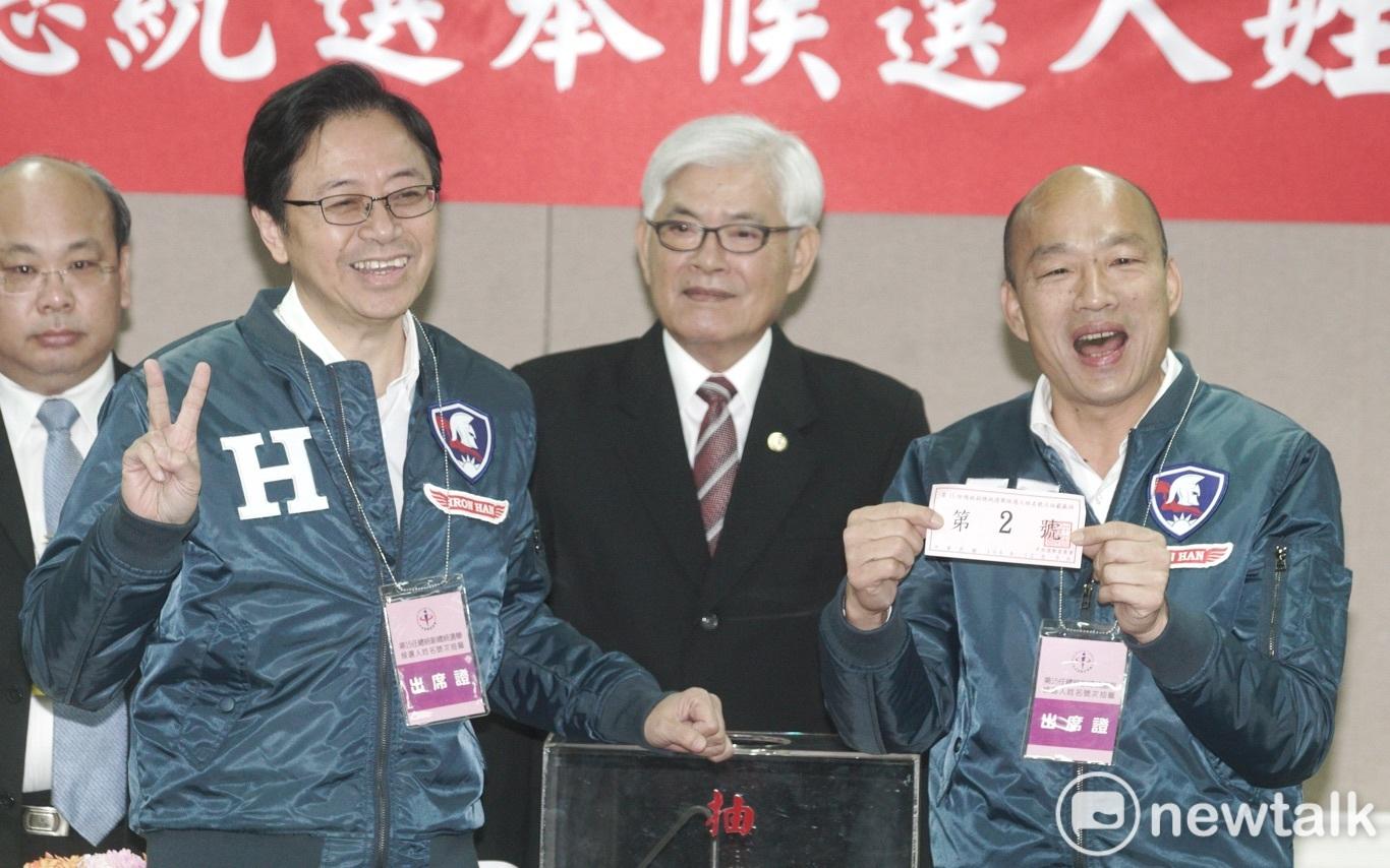 中選會今進行總統副總統候選人號次抽籤,韓國瑜張善政抽中二號。圖:張良一/攝