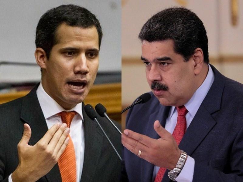 委內瑞拉反對派領袖瓜伊多(左)1月23日自行宣布就任臨時總統,但軍方支持的總統馬杜洛(右)並沒有下台。圖:取自厄瓜多、馬杜洛推特