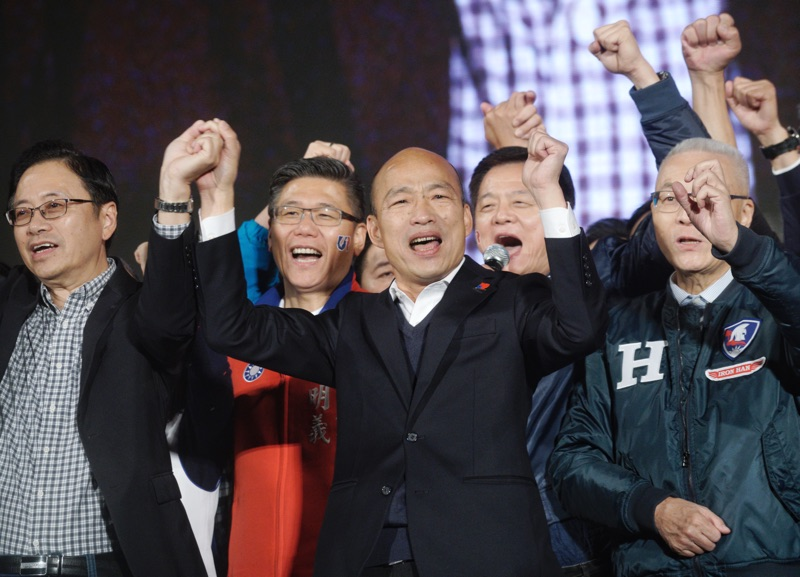 國民黨總統候選人韓國瑜出席在凱道舉行的造勢晚會。 圖:張良一/攝(資料照)