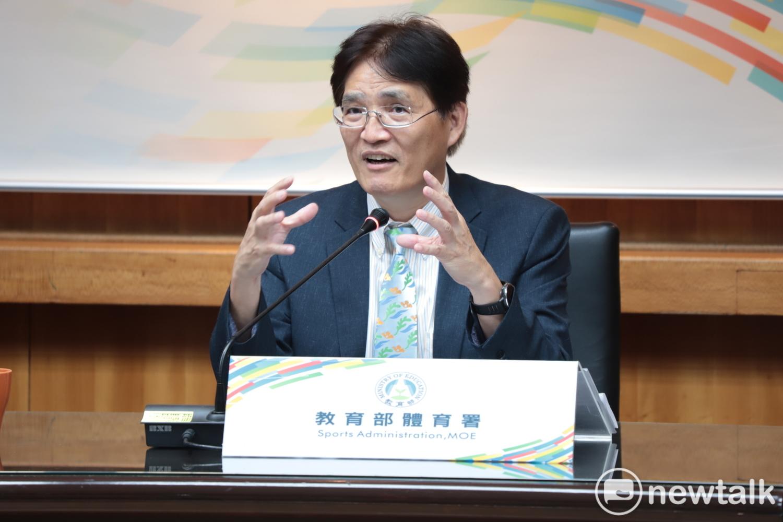 「2020台灣運動產業博覽會」在體育署長高志雄主持下正式揭幕展期日期。 圖:簡育詮/攝