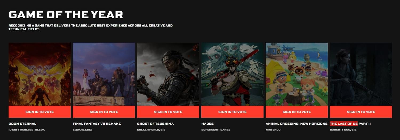 「年度最佳遊戲」入圍遊戲為-《集合啦!動物森友會》、《毀滅戰士 永恆》、《Final Fantasy 7重製版》、《對馬戰鬼》、《Hades》、《最後生還者二部曲》。 圖:翻攝自TGA官網