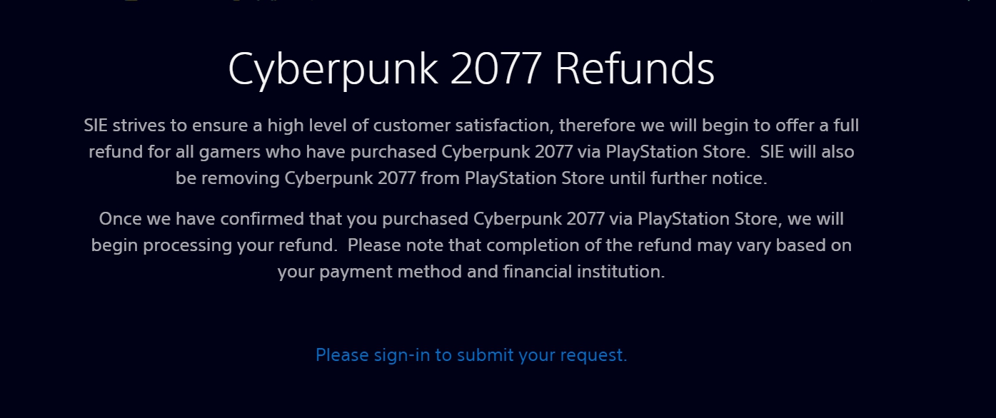 SIE針對《電馭叛客2077》全額退費且下架的公告。 圖:圖:翻攝自PlayStation
