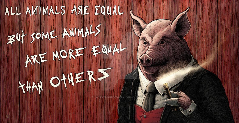 《動物農莊》一書到結局時,農莊的牆面上的只剩一條戒律:「所有動物一律平等,但有些動物比其他動物更加平等。」 圖:取自Etsy