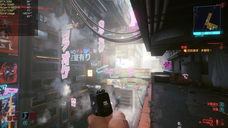就算身處美麗的《電馭叛客2077》夜之城,這台筆電還是展現極佳的性能,沒有出現任何卡頓的畫面過。 圖:陳耀宗/攝