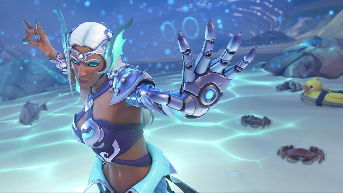 《鬥陣特攻》夏季運動會全新傳奇造型 - 美人魚辛梅塔,陪玩家消暑解熱。 圖:暴雪娛樂提供