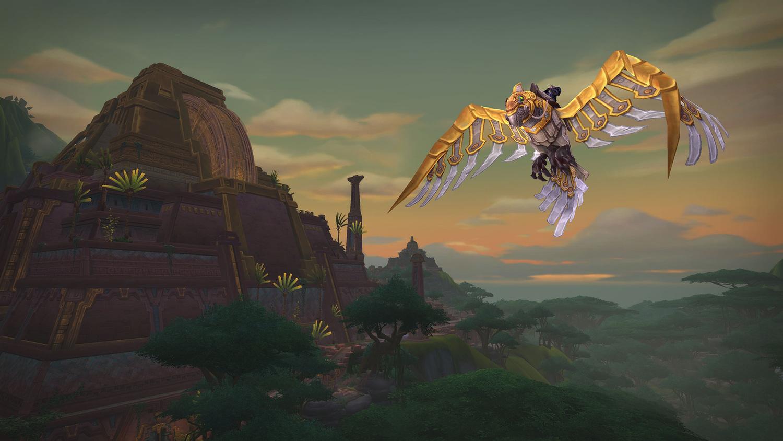 《艾薩拉的崛起》會解除飛行前最後一階段-「探路者第二部」,圖為機械鸚鵡飛行坐騎。