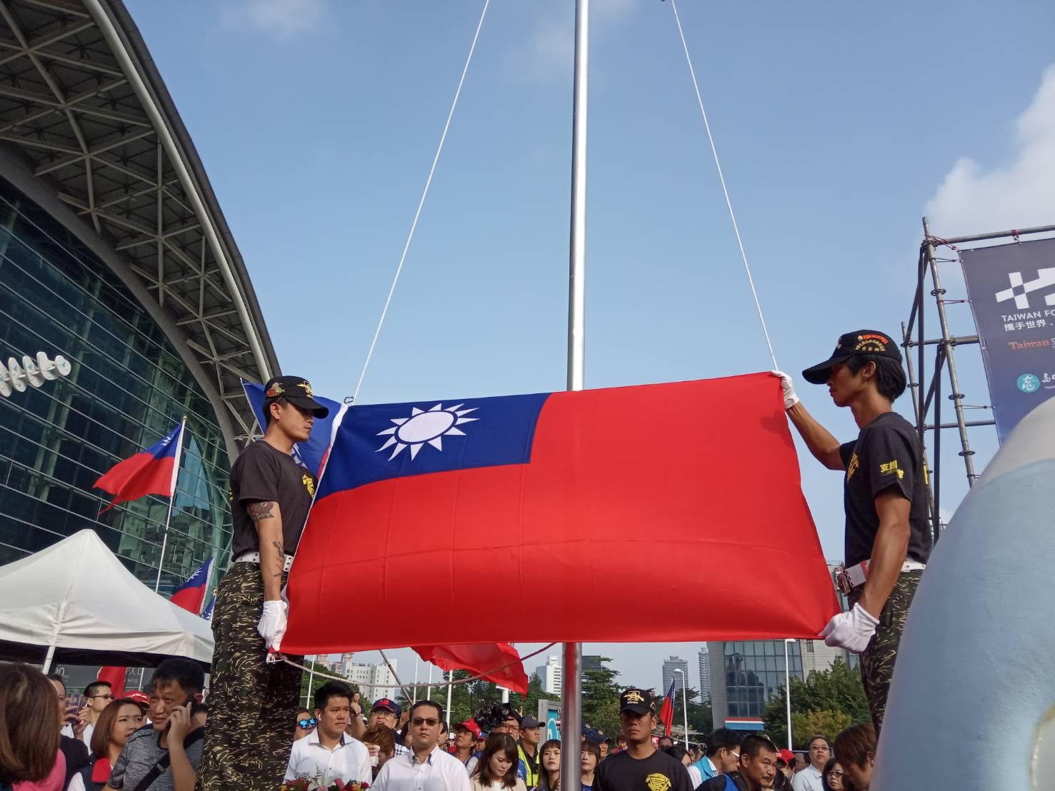高雄市在韓國瑜就任前, 已有多年未在國慶日舉行升旗。圖:孫家銘/攝