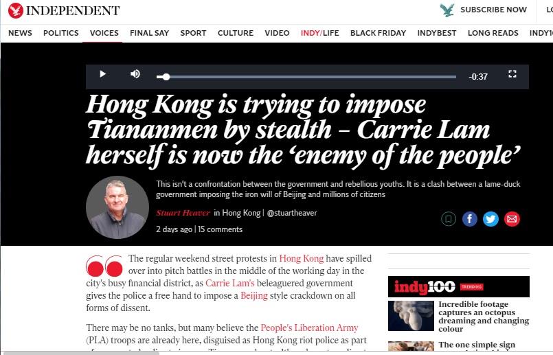獨立撰稿人希佛在英國《獨立報》發表文章,指香港警察7月以來平均身高增加10公分,天安門屠殺已經秘密開始。圖:翻攝自英國《獨立報》