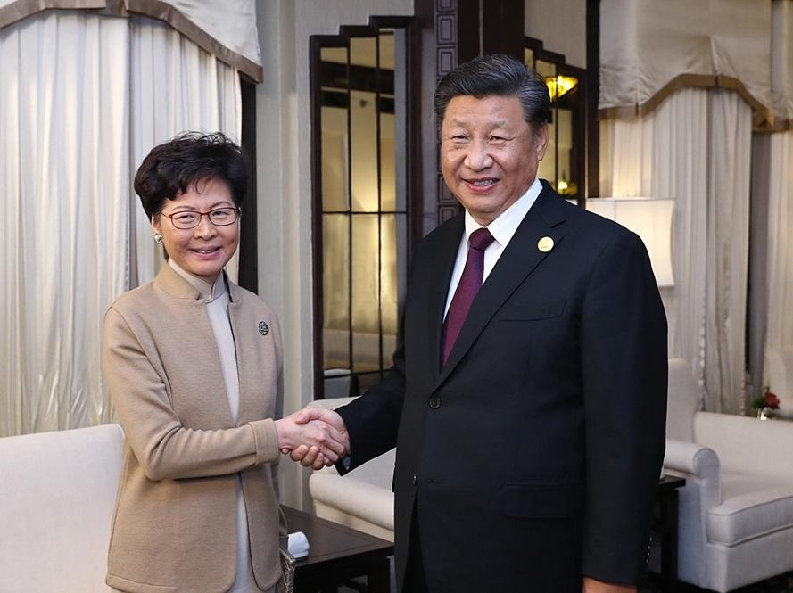 4日晚間,大陸國家主席習近平親自接見香港行政長官林鄭月娥。圖:翻攝新華網