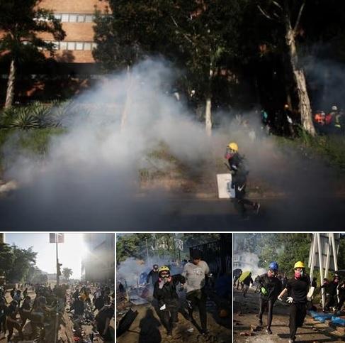 港警被爆出動至少4個總區應變大隊參與理大行動,警力多達2000人,18日上午趁學生要撤離時,又發射多枚催淚彈。圖:翻攝自Edward Lee臉書
