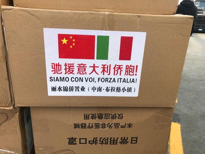中國宣稱捐贈大批物資給義大利,想塑造自己是救世主的形象。 圖:翻攝自Italy ANPAS推特