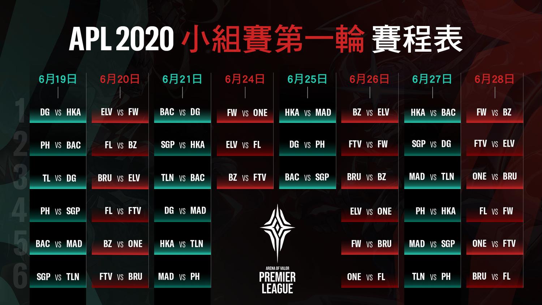 2020小組賽第一輪賽程表出爐