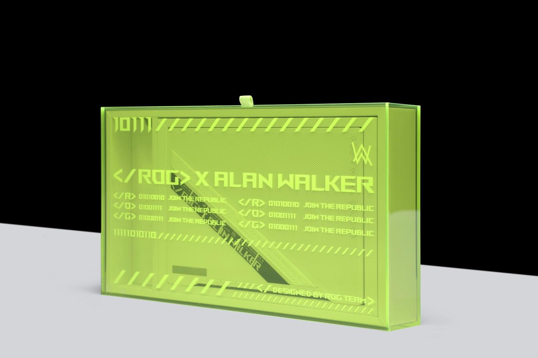 Alan Walker限定版完美揉合ROG、音樂風格、潮流文化三大元素,更為其訂製代表電音文化的螢光綠外盒 圖:ROG/提供