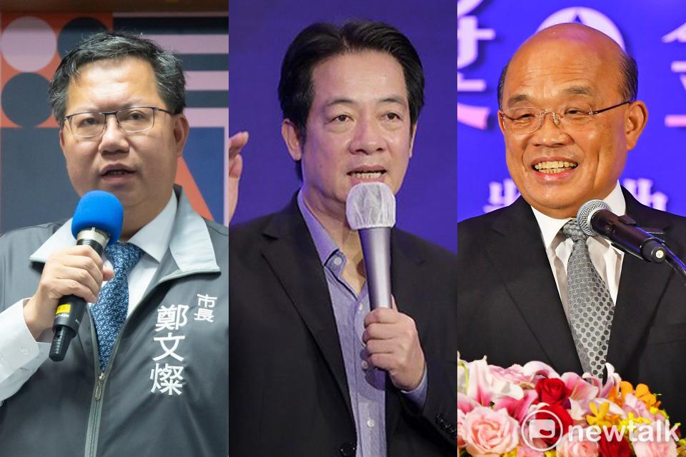 民進黨2024三大總統熱門總統候選人桃園市長鄭文燦(左)、副總統賴清德(中)、閣揆蘇貞昌(右)。 圖/新頭殼合成照。