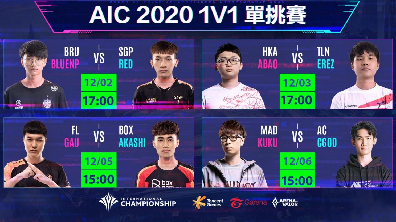 AIC 2020 1V1單挑賽對戰組合及賽程公布 圖:Garena/提供