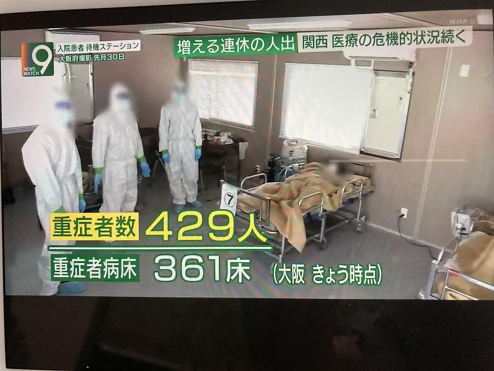 大阪在3日時點,重症患者人數超過重症病床數,無法獲得醫療的人只好等死。 圖:翻攝NHK新聞