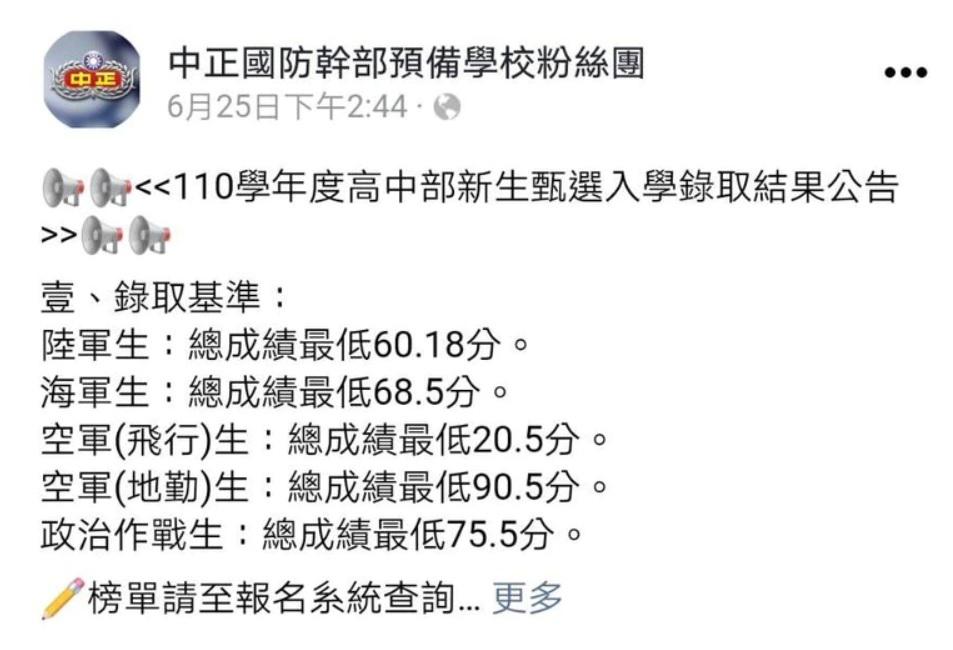 中正預校高中部公布110學年錄取最低分數。 圖:翻攝中正國防幹部預備學校粉絲團