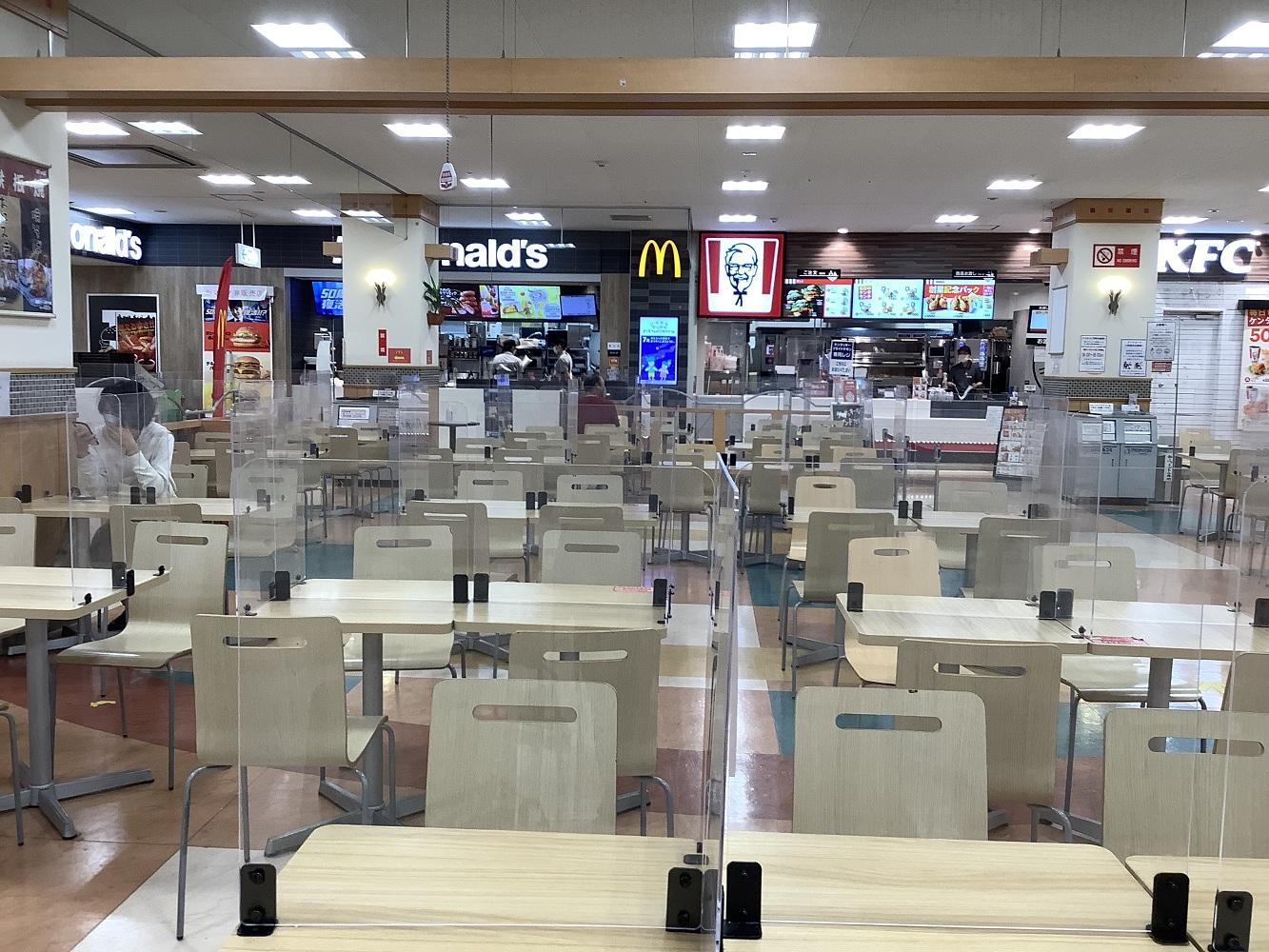 美食廣場也徹底用隔板隔開。 圖:劉黎兒攝