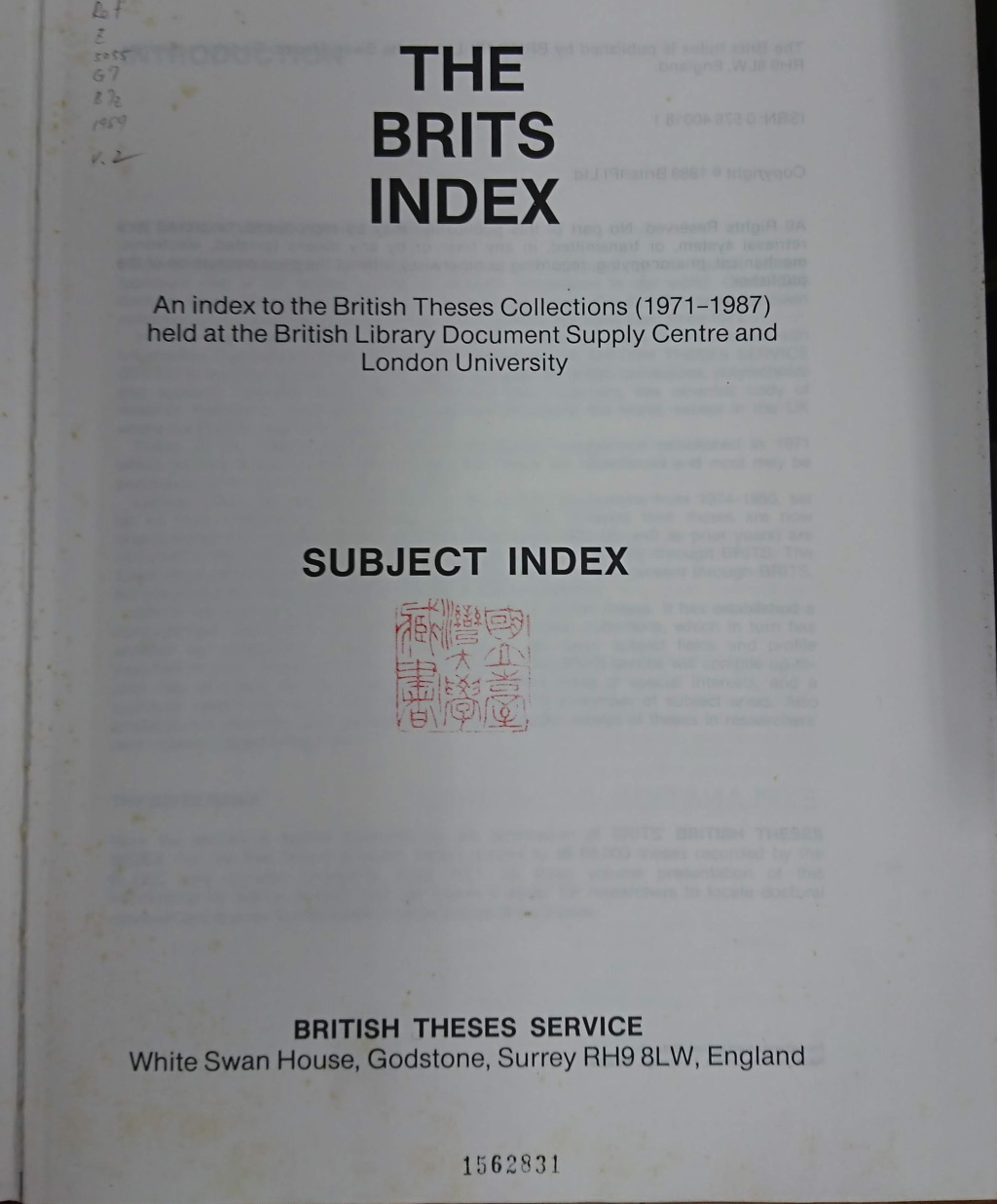 The Brits Index之標題頁