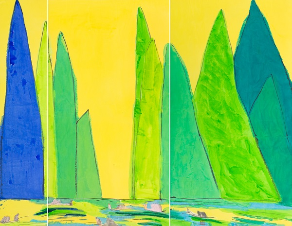 龍門雅集 Longmen Art Projects_丁雄泉Walasse Ting _金色山水图 (三联屏)Golden Landscape (Triptych) _水墨 亞克力 宣紙Chinese Ink and Acrylic on Rice Paper _182x238.8 cm _Late 1980s   圖:截自Art Taipei網站