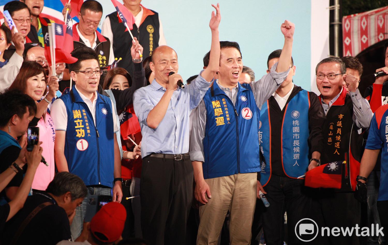 韓國瑜現身桃園為陳學聖站台,表示陳學聖多年來從未讓他失望,希望桃園選民1124站出來票投陳學聖。