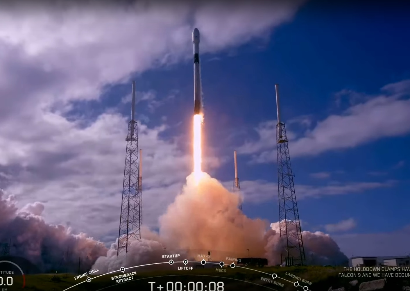 美國太空探索科技公司(SpaceX)今天把第2批共60枚小型衛星送上太空。   圖:截取自SpaceX  youtube