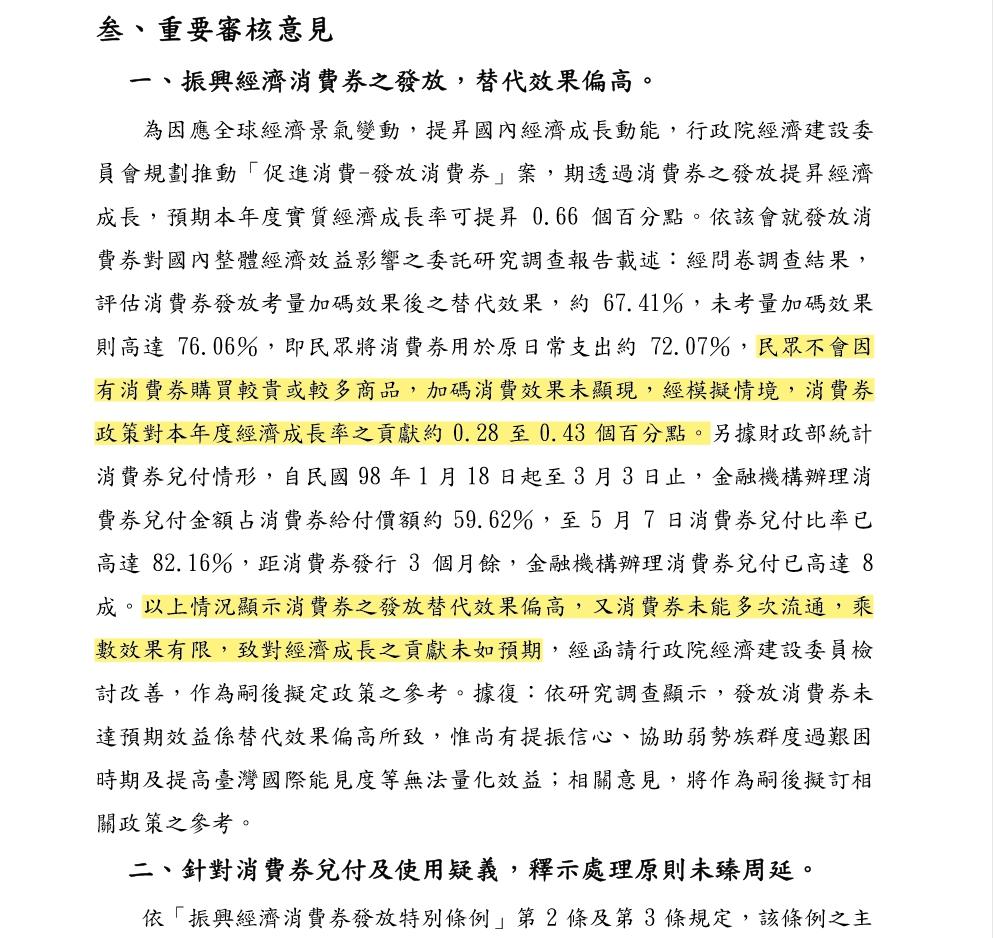 2010年審計部針對當時消費券政策的評估報告。資料來源:審計部