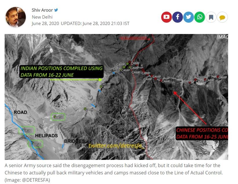 卫星照片显示,中国在与印度的边境没有撤军迹象,反而多出十多个营地。 图:翻摄自INDIA TODAY/@DETRESFA