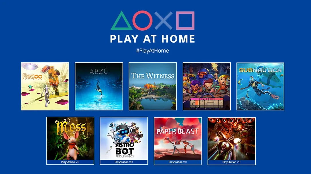 「Play at Home」本輪十款遊戲包括:《Abzu》、《Enter the Gungeon》、《Rez Infinite》、《Subnautica》、《The Witness》、《地平線:期待黎明》以及四款VR導向遊戲《Astro Bot Rescue Mission》、《Moss》、《Thumper》、《Paper Beast》。   圖:翻攝自PS部落格