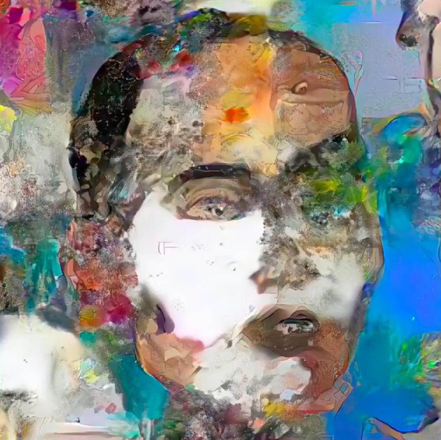 索菲亞結合數位藝術家Andrea Bonaceto的素材、美術史資料以及自身繪畫技巧,完成一幅自畫像。圖:翻攝自@RealSophiaRobot推特