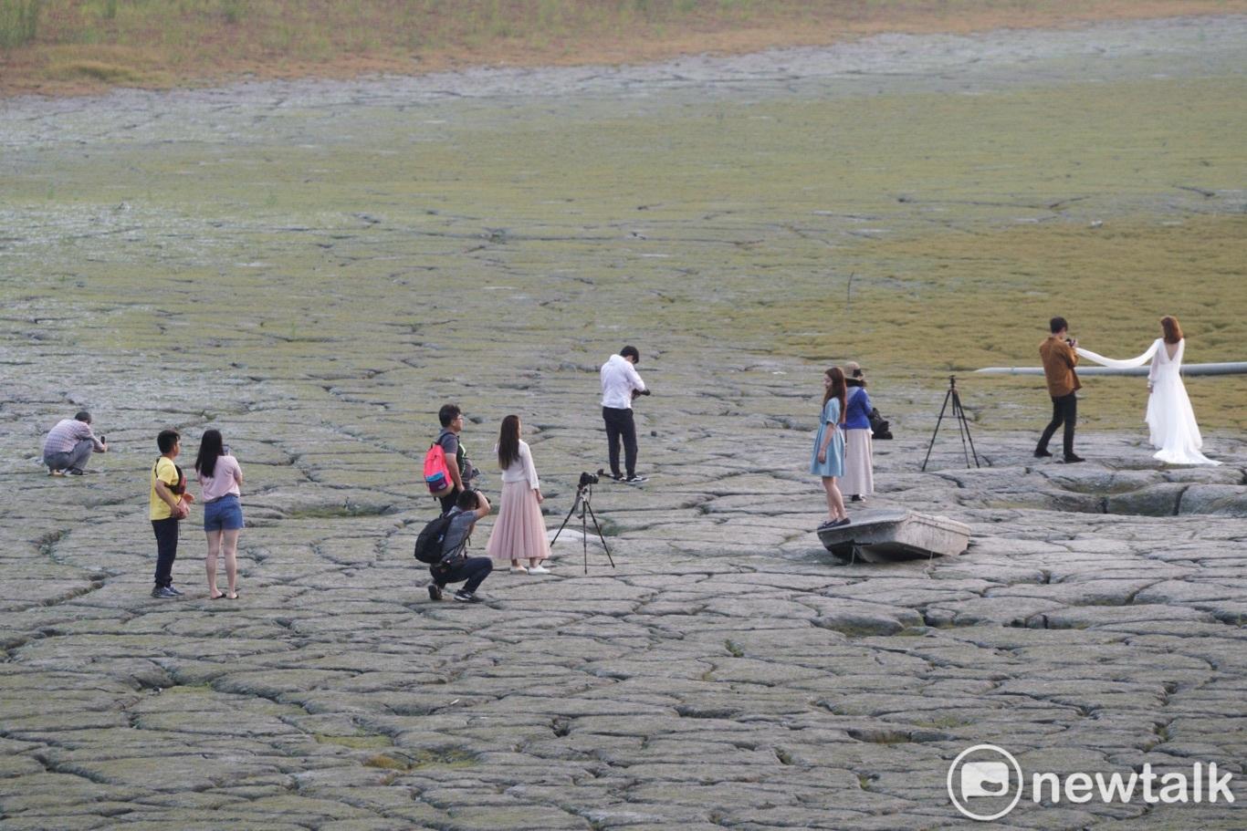 日月潭大竹湖進水口一帶湖底裸露、白色的枯木浮現、淤泥龜裂甚至長出青草,乾旱的湖底奇觀,因IG網美照瞬間變成網美爆紅景點,民眾爭相拍網美照,場景超現實,凸顯旱象的荒謬現象。圖:張良一/攝