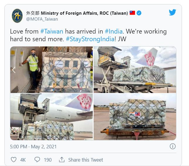 外交部表示:「來自台灣的愛已經來到印度,我們正在想辦法給予更多幫助」。圖:翻攝外交部推特