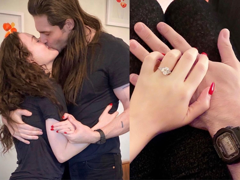 34歲的凱特丹寧絲亮出手上超大鑽戒,也獻上與愛人超甜蜜的親吻照。圖:翻攝自IG
