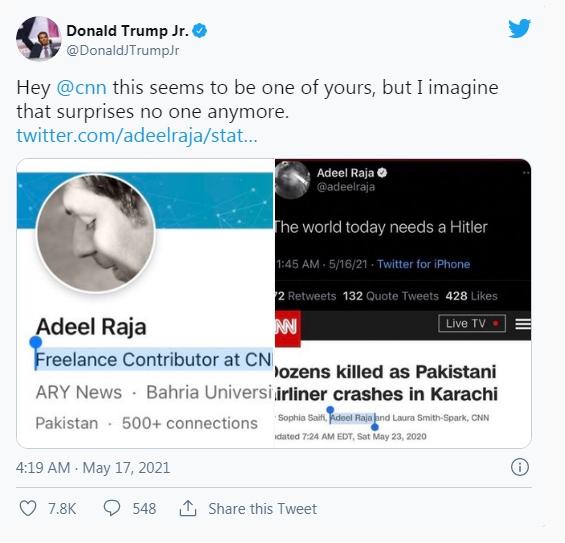 有網友指責CNN雇用拉賈 : 「嗨CNN,這個人看起來是你們公司的,不過我想應該沒人會感到意外。圖 : 翻攝自推特