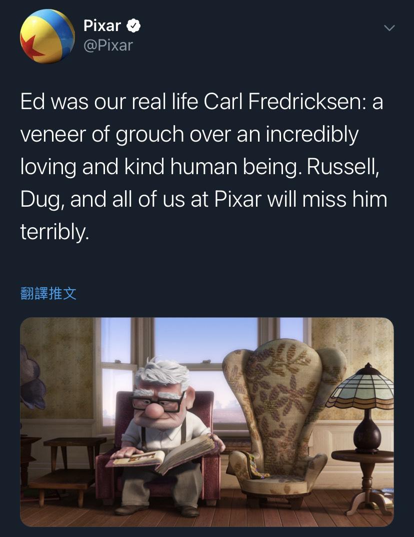 皮克斯(Pixar)也透過官方推特發文悼念愛德華阿斯納。圖:翻攝自推特