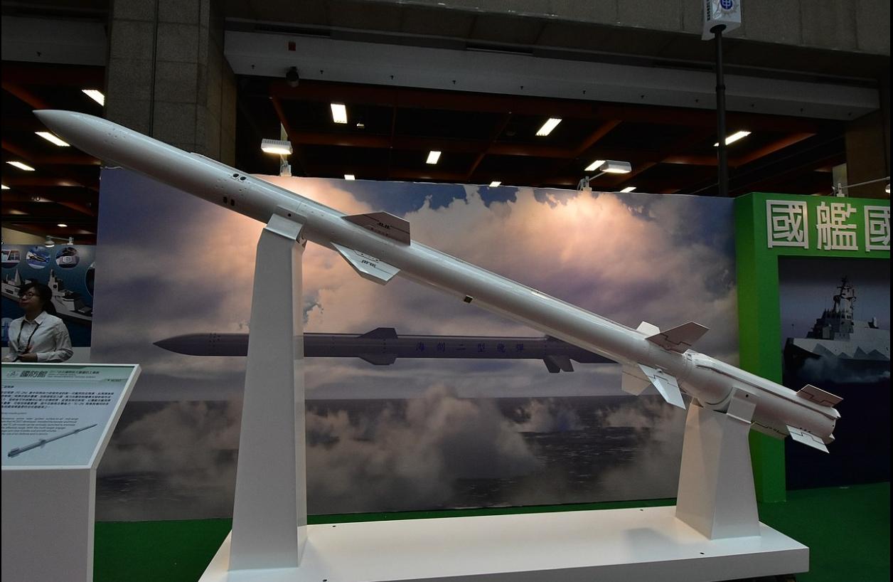 2017年臺北國際航太暨國防工業展時展出的艦射型TC-2N飛彈。圖:擷取自維基百科
